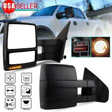 Pair for 2007-2014 Ford F150 Tow Mirrors Led Puddle Turn Signals Power Heated