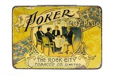 "Scarce early1900s Canadian litho ""Poker"" hinged tobacco tin in good condition"
