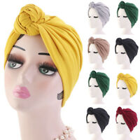 Womens Stretch Cotton Turban Hat Knotted African Twist Headwrap Cancer Chemo Cap