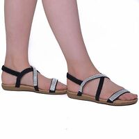 LADIES FLAT OPEN TOE WOMENS DIAMANTE JEWEL HOLIDAY DRESSY PARTY SANDALS SIZE 3-8