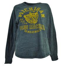 NCAA Michigan Wolverines Long Sleeve Tshirt Tee Womens Loose Fit Navy Blue LG