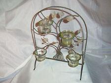4er Windlicht Teelichthalter Ranke hellgrün Metall Glas 26,5 x 13,5 x 36,5 cm