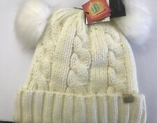 David And Young White Double Pom Pom Beanie
