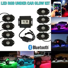 8pcs Wireless Bluetooth Rock LED RGB Under Car Puddle Glow Light Off-road J2