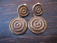 prächtige Vintage Designer Ohrringe 925er Silber gold vergoldet Spiralen Hänger