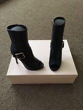 New Jimmy Choo Deja Black Biker Leather Peep Toe Boots Size 34.5
