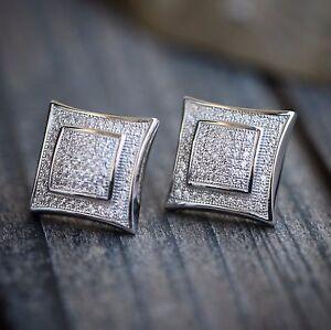 Mens white gold lab made diamond square shaped stud earrings
