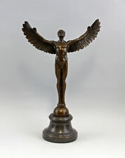 Bronze Plastic Sculpture Icarus with outstretched Wings on base NEW 9937646-ds