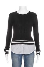 NEW TOPSHOP Ribbed Knit Sweater Size 2 Black White Pinstripe NWT