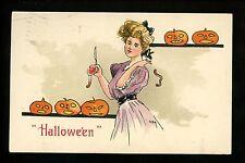 Halloween Postcard Leubrie & Elkus 2215-3 Woman w/ JOL pumpkin Vintage embossed