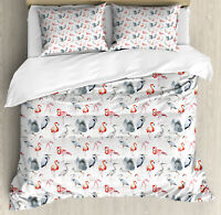 Flamingo Duvet Cover Set with Pillow Shams Heron Birds Watercolor Print