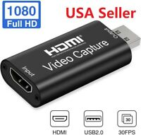 HDMI to USB 2.0 Video Capture Card 1080p for Zoom Meeting Streaming/GoPro/webcam