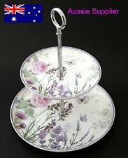 2 Tier Ceramic Floral Cake Plate Stand Mother's Day Birthday Christmas Gift