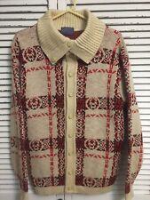 Vtg Pendleton Virgin Wool Button Collar Turtle Neck Cardigan Sweater Usa Men's M
