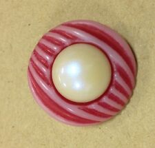 FANCY PEARL CENTRE BUTTONS x4 Red / Blue large faux pearl ball 20mm shank back