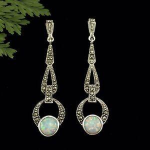 Gorgeous Art Deco Inspired Sterling Silver Marcasite Faux Opal Earrings