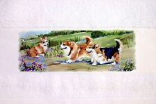 CORGI DOG GREAT COTTON HAND/GUEST TOWEL SANDRA COEN ARTIST OIL PAINTING PRINT