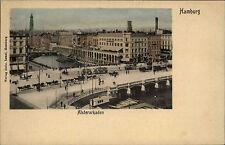 Hamburg  ~1900 Tram Strassenbahn Pferde Fuhrwerke passieren Brücke Alsterarkaden