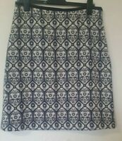 Laura Ashley Wool Blend Retro Print Lined A Line Skirt Size 12