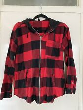 H&M Size 10 Red Check Hooded Shirt