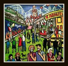 Original Northern Art Oil Painting Phil Lewis : Fun Fair Ghost Train Ride