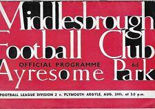 Football Programme>MIDDLESBROUGH v PLYMOUTH ARGYLE Aug 1963