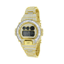 Mens Baguette Cut Real Authentic Custom Casio G-Shock DW6900 Watch Gold Finish
