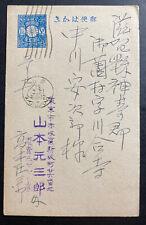 1930s Japan Postal Stationery Postcard Blue Cover Machine Cancel