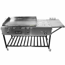 Taco Cart Stainless Steel Griddle w/3 Steamers Pans Catering Plancha Propane Gas