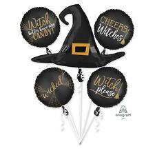 Halloween Negro y Dorado Bruja Globo Ramo Halloween Decoración Fiesta