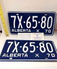 1970 MINT Vintage 47 Year Alberta Canada License Plate Set with Demerit Insert