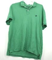 American Eagle Men's 2XL Short Sleeve Green 100% Cotton Collared Polo Shirt