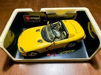 Bburago 1993 Dodge Viper RT10 Yellow Diamonds 1/18 Die Cast With Box