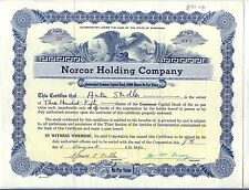 Norcor Holding Company Stock Certificate Green Bay Wisconsin