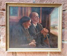 Außergewöhnliches Familiengemälde: Zugfahrt von Mutter und Sohn. Ölgemälde, sign
