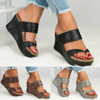 Women Mid Wedge Slip On Sandal Comfort Summer Casual Leather Shoes Heels Tops