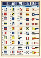 NEW INTERNATIONAL MARITIME SIGNAL FLAGS A3 POSTER PENNANTS ALPHABET SEA