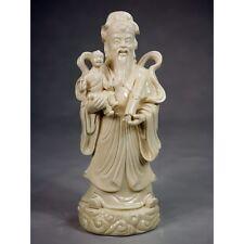 Feng Shui Glücksgott Lu Xing Porzellan Figur Sanxing Blanc de Chine Keramik
