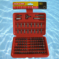 "Fuller Tools 100 Pce Phillips Pozi Slot Torx In-Hex+ 1/4"" DR Hex Insert Bit Set"