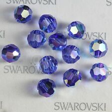 100 pieces Swarovski 5000 faceted 4mm Round Ball Bead Crystal Sapphire AB *SALE*