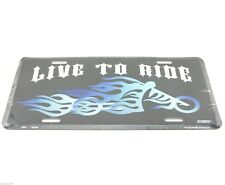 Live to Ride Motorcycle Aluminum Metal License Plate Sign Tag