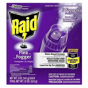 3 Raid fleas killer plusFoggers Water Based Formula  5 oz each 15 oz total