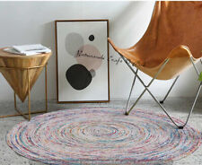 Round Decor 6 x 6 Reversible Indian Jute Handwoven Braided Floor Rag Rug Mat