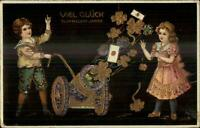 German New Year - Children Fire Flower Cannon Gold Clovers Postcard