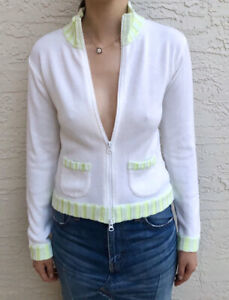 COURREGES White/Green Knit Cotton Light Zip-Up Sweater