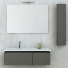 Mobile bagno sospeso moderno grigio talpa opaco 100 cm con specchio e pensile