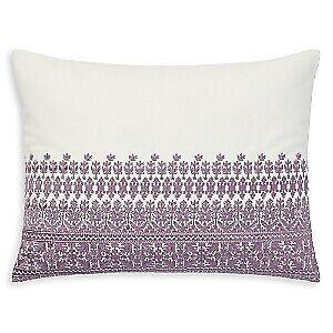 "Ralph Lauren Melisant Cotton Embroidered 15"" x 20"" Throw Pillow - Cream / Purple"