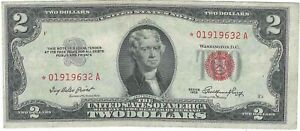 Series 1953 $2 Red Seal Star Note *01919632A