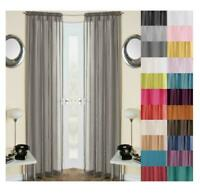 1 PAIR (2) Plain Voile Curtain Panels Rod Pocket Slot Top Net Curtain 25 Colours
