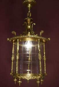 "HANGING LANTERN SHINY BRASS LIGHT CHANDELIER LAMP FOYER BRASS USED Ø 12"" OLD"